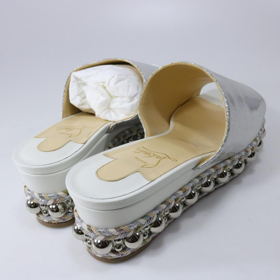60mm Studded Christian Sandals Metallic Louboutin Latte Silver A899 White Janibasse Spike 6qFP6X