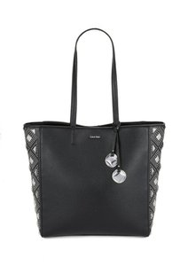 Calvin Klein Studded Leather Tote in Black