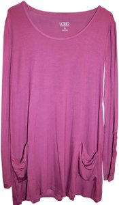 LOGO by Lori Goldstein Pink Burgundy Tunic Layer Top Aubergine