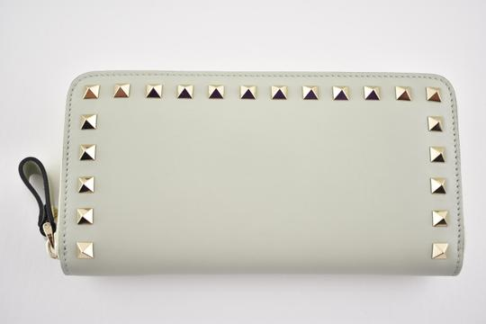 Valentino Rockstud 6A0 Gold Stud Leather Zipper Around Continental Wallet Clutch Image 1