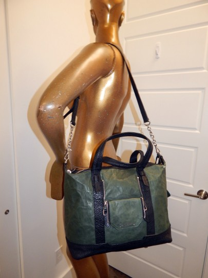 Olivia Harris Cobain 2way Leather Satchel in Green Image 2