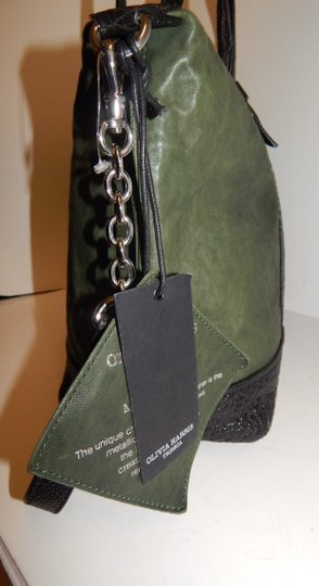 Olivia Harris Cobain 2way Leather Satchel in Green Image 3