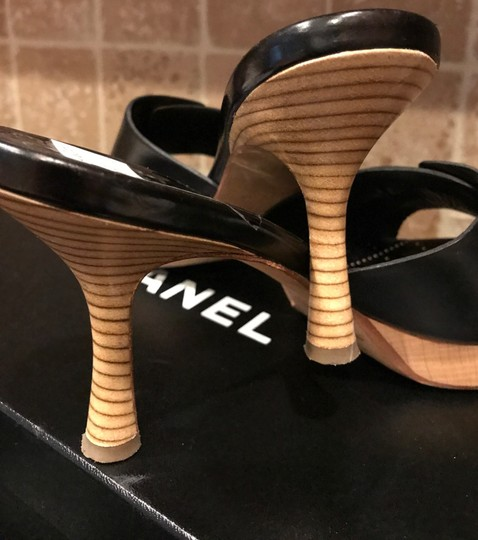 Chanel Black Italian Leather with Wooden heels and cc/button logo Sandals Image 1