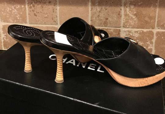 Chanel Black Italian Leather with Wooden heels and cc/button logo Sandals Image 11