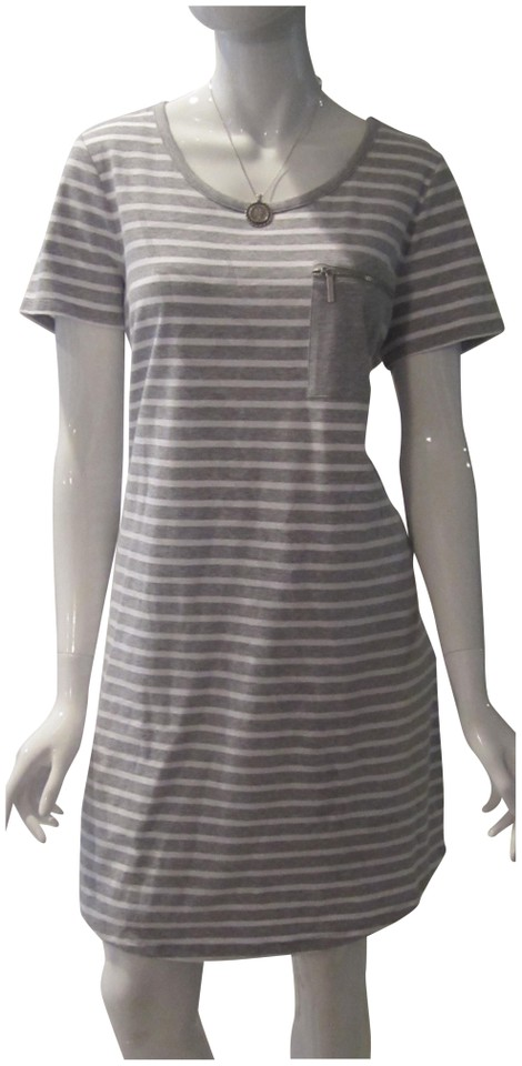1cd9d355664 MICHAEL Michael Kors Gray White Pearl Heather Striped Zip Pocket Style No.  Qs88evr9ty Casual Dress
