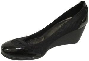 dexflex Comfort Sporty Foam Faux Patent Rubber Sole Fabric Black Pumps