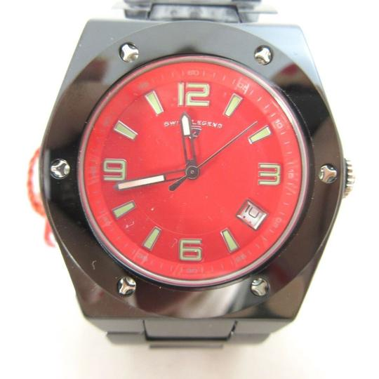 Swiss Legend SWISS LEGEND Gray & Red Ceramic Red Face Chronograph THROTTLE Watch NE Image 1