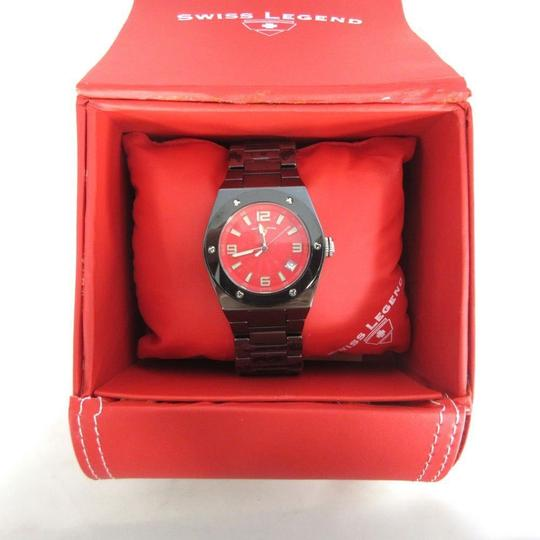 Swiss Legend SWISS LEGEND Gray & Red Ceramic Red Face Chronograph THROTTLE Watch NE Image 3