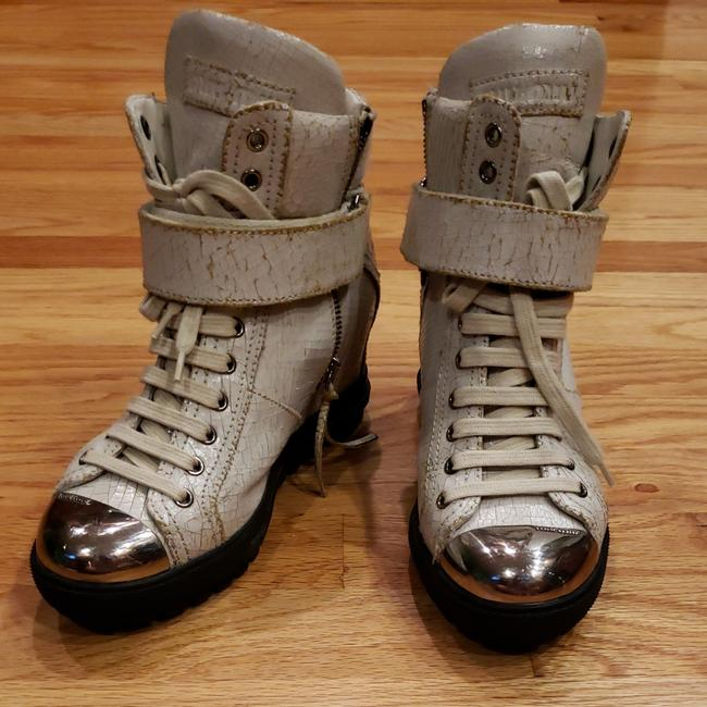 Item - White Vintage Leather Zip Boots/Booties Size EU 35 (Approx. US 5) Regular (M, B)