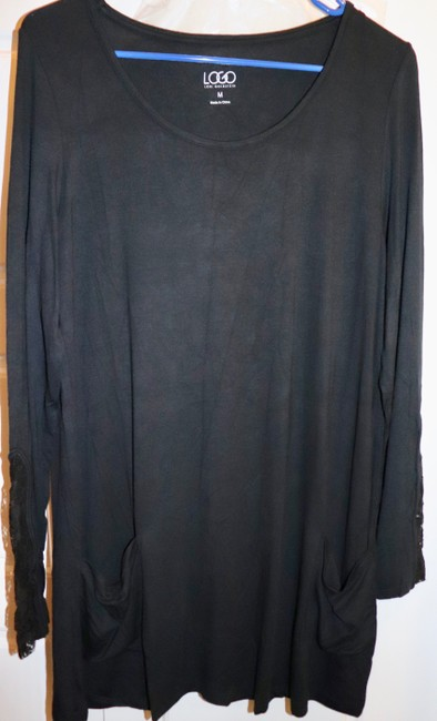 LOGO by Lori Goldstein Tunic Layer Lace Knit Top Black Image 1
