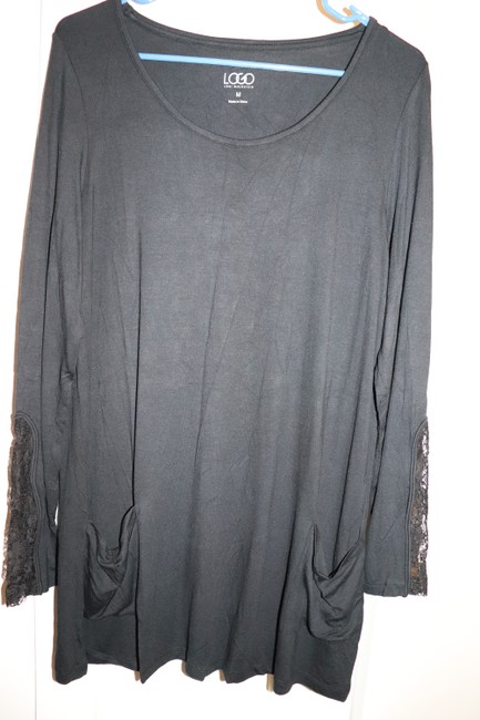 LOGO by Lori Goldstein Tunic Layer Lace Knit Top Black Image 2