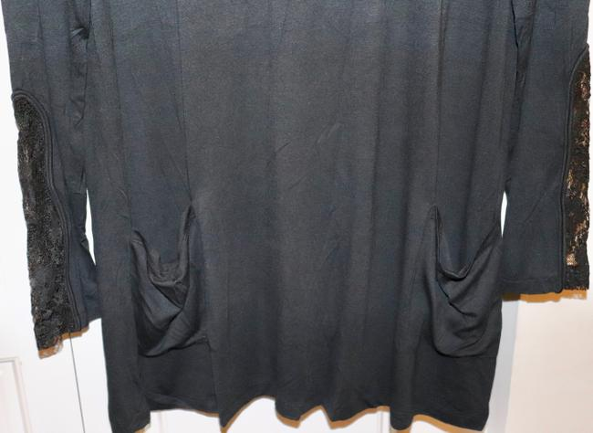 LOGO by Lori Goldstein Tunic Layer Lace Knit Top Black Image 3