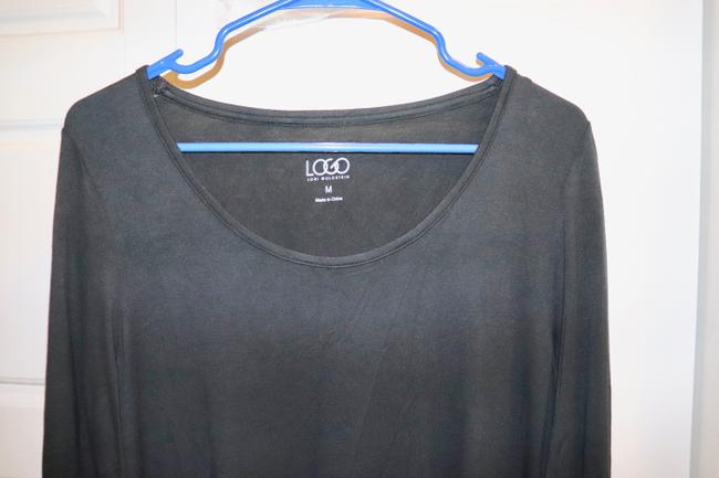 LOGO by Lori Goldstein Tunic Layer Lace Knit Top Black Image 6