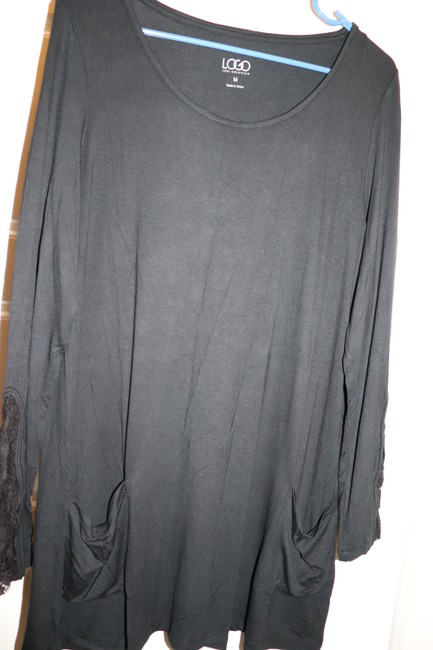LOGO by Lori Goldstein Tunic Layer Lace Knit Top Black Image 8