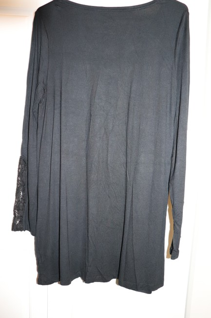 LOGO by Lori Goldstein Tunic Layer Lace Knit Top Black Image 9