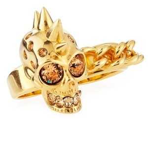 Alexander McQueen New Skull and Chain Two Finger Double W/Box Bag Ring