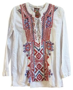 Johnny Was Front Lace Up Red Blue Embroidery Striped Cotton Long Sleeves One Button Cuffs Top Multi