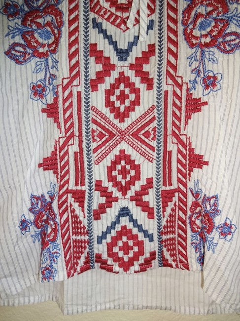 Johnny Was Front Lace Up Red Blue Embroidery Striped Cotton Long Sleeves One Button Cuffs Top Multi Image 3