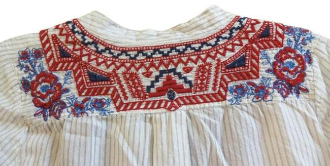 Johnny Was Front Lace Up Red Blue Embroidery Striped Cotton Long Sleeves One Button Cuffs Top Multi Image 5
