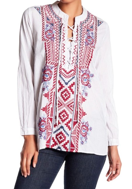 Johnny Was Front Lace Up Red Blue Embroidery Striped Cotton Long Sleeves One Button Cuffs Top Multi Image 8
