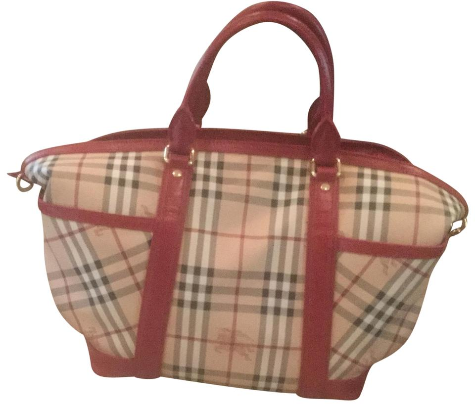 Tote Diaper Red Leather with Haymarket Check Burberry Canvas Accents Of  Diaper Bag 58fb076839