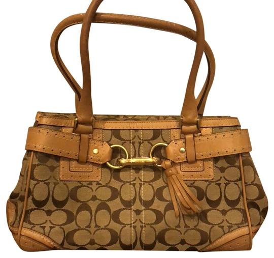 Preload https://img-static.tradesy.com/item/23838419/monogram-browntan-leather-and-canvas-satchel-0-1-540-540.jpg