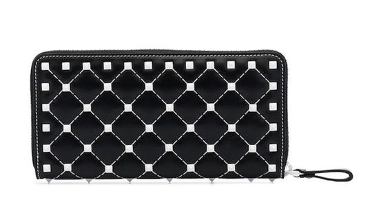 Valentino Rockstud Free Spike White Zipper Around Stud Continental Wallet Clutch Image 2
