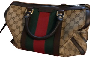 Gucci Satchel in Tan with green and red web