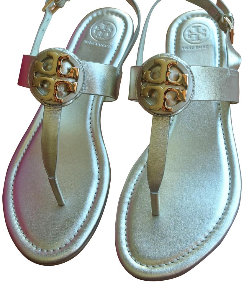 816a9733339 Tory Burch Gold Bryce Metallic Veg Leather Flat Sandals Size US 9.5 ...