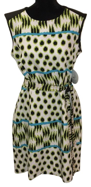 Preload https://img-static.tradesy.com/item/23838464/emma-and-michele-black-white-green-and-turquoise-sheath-belted-wear-mid-length-workoffice-dress-size-0-1-650-650.jpg