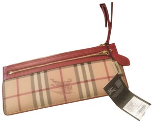 Burberry Haymarket Wristlet Wristlet in Burberry Haymarket with Red leather accent.