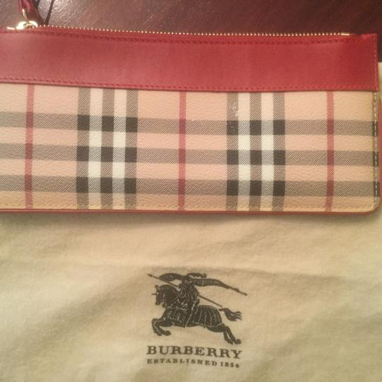 Burberry Haymarket Wristlet Wristlet in Burberry Haymarket with Red leather accent. Image 2