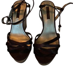 Nine West Brown Satin Wedges
