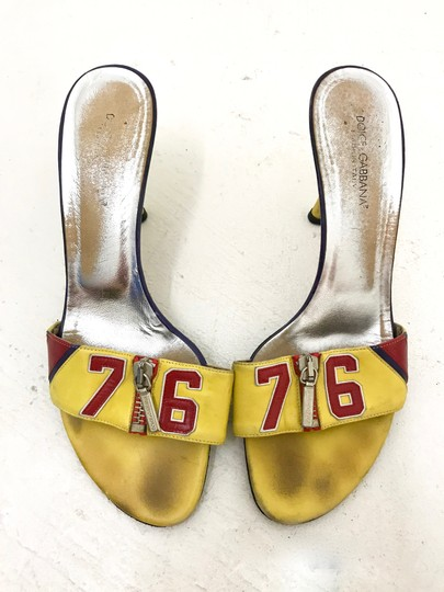 Dolce&Gabbana Vintage Vtg Leather 38.5 Yellow Red Sandals Image 1
