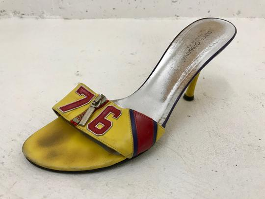 Dolce&Gabbana Vintage Vtg Leather 38.5 Yellow Red Sandals Image 5