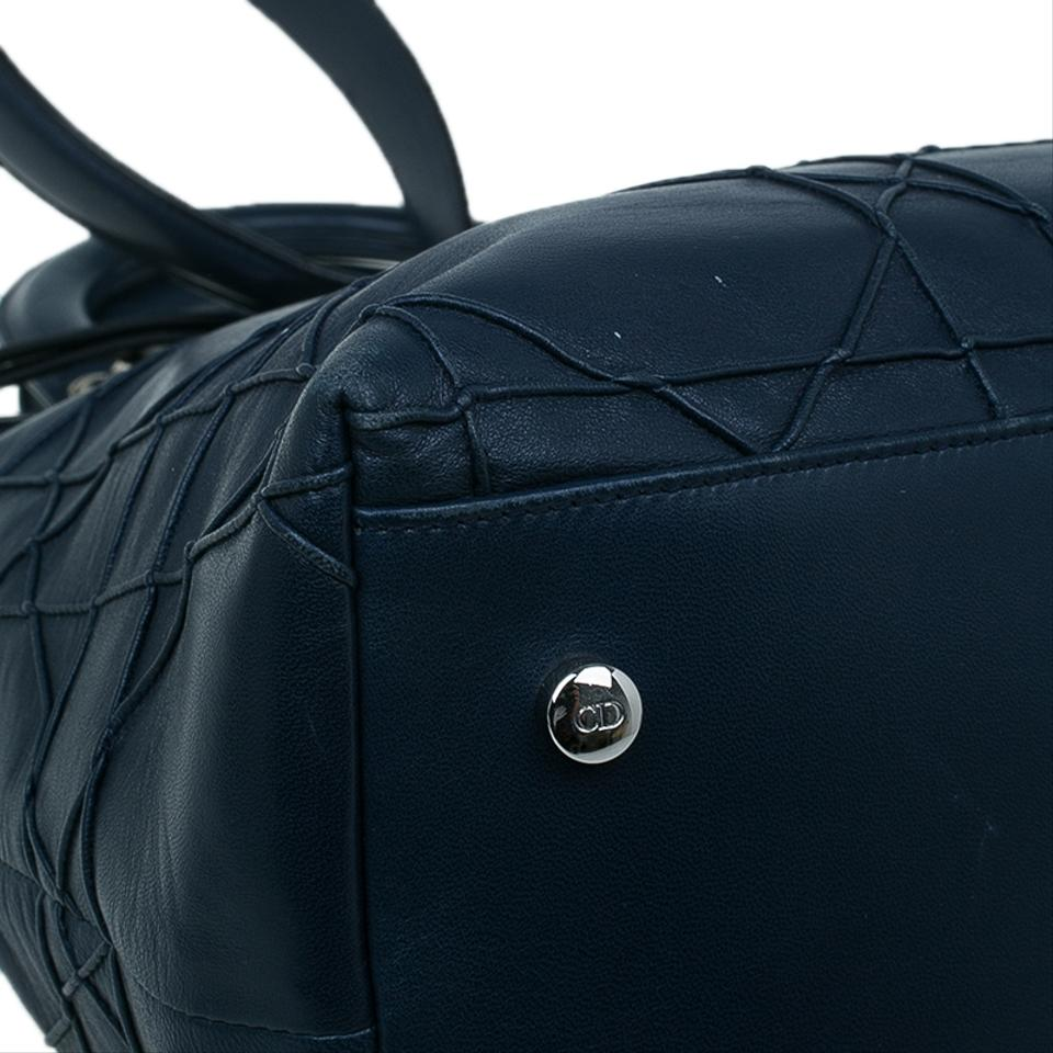 Granville Cannage Quilted Blue Navy Dior Tote Leather Lambskin q1wSPW