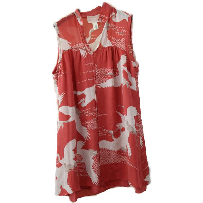 Item - Red Button Front Mid-length Short Casual Dress Size 12 (L)