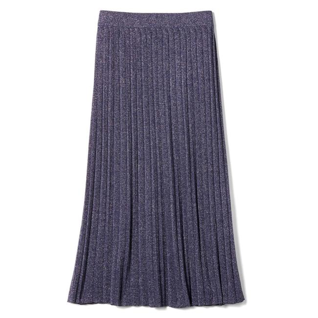 Item - Blue New Pleated Metallic Skirt Size 16 (XL, Plus 0x)