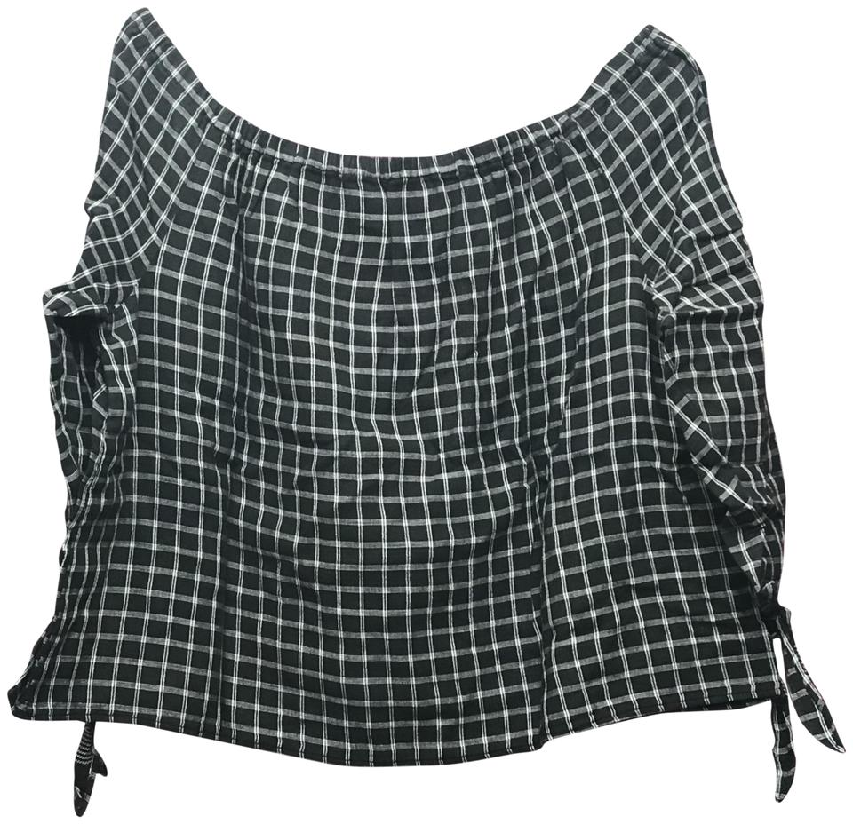 cd6ac8afd2f107 Madewell Black White Women s Plaid Off The Shoulder Boxy Blouse Size ...