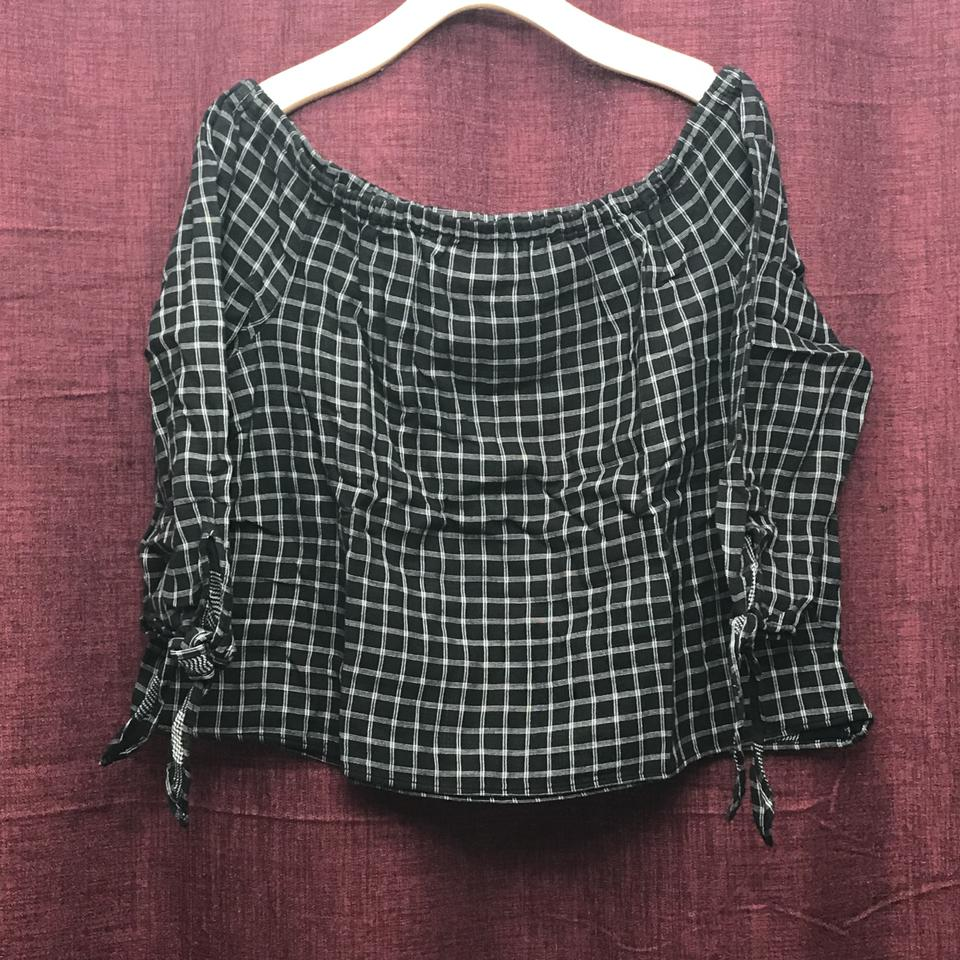 09407fb8784946 Madewell Black White Women s Plaid Off The Shoulder Boxy Blouse Size 12 (L)  - Tradesy