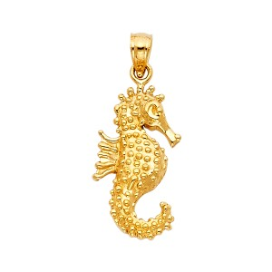 TD Collections 14K Yellow Gold Sea Horse Pendant