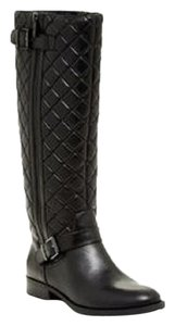 Arturo Chiang Quilted Leather Tall Zipper Black Boots