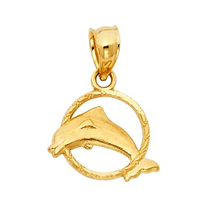 TD Collections 14K Yellow Gold Dolphin Pendant