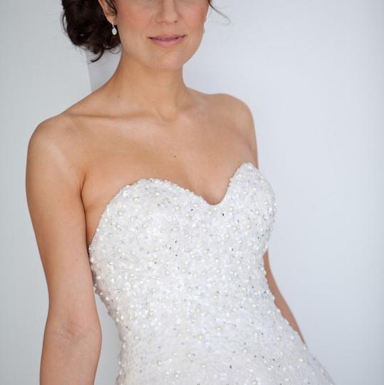 Reem Acra Moonlight Strapless Tulle Ball Gown with Jeweled Embellished Pearl & Sequin Plus Matching Tulle Veil Feminine Wedding Dress Size 8 (M) Image 1