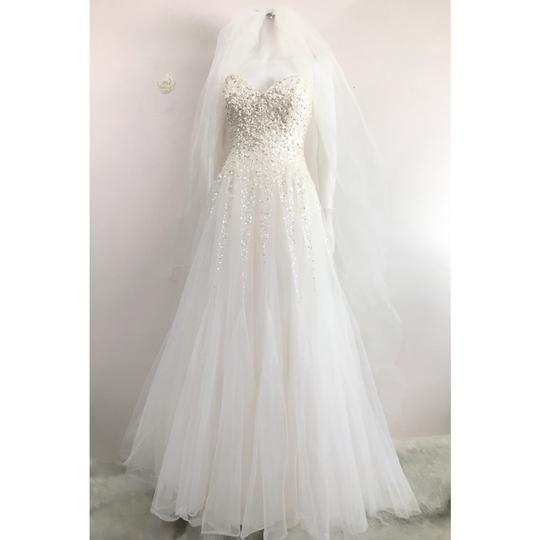 Reem Acra Moonlight Strapless Tulle Ball Gown with Jeweled Embellished Pearl & Sequin Plus Matching Tulle Veil Feminine Wedding Dress Size 8 (M) Image 2
