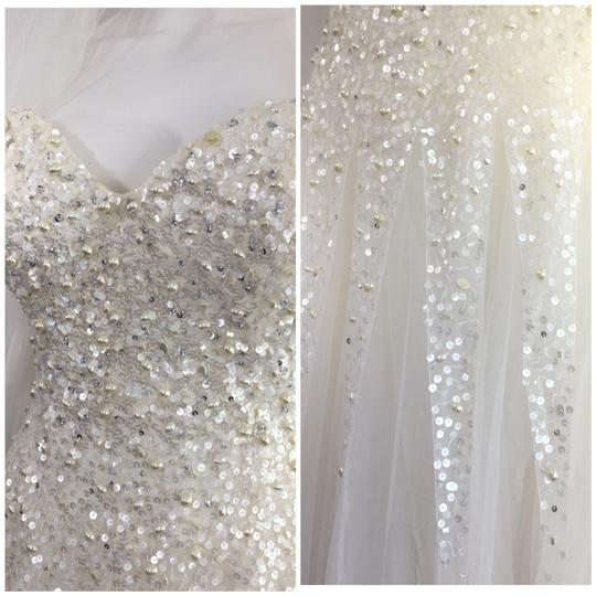 Reem Acra Moonlight Strapless Tulle Ball Gown with Jeweled Embellished Pearl & Sequin Plus Matching Tulle Veil Feminine Wedding Dress Size 8 (M) Image 4