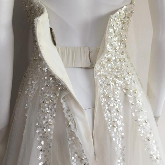 Reem Acra Moonlight Strapless Tulle Ball Gown with Jeweled Embellished Pearl & Sequin Plus Matching Tulle Veil Feminine Wedding Dress Size 8 (M) Image 5
