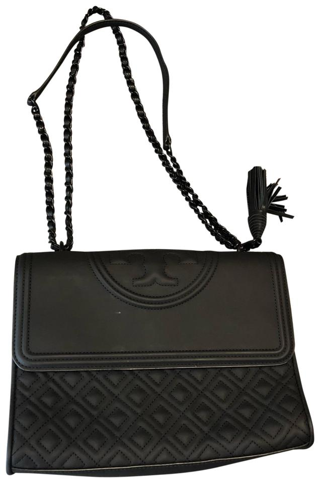 308754666dfd Tory Burch Fleming Matte Convertible Black Rubber Shoulder Bag - Tradesy