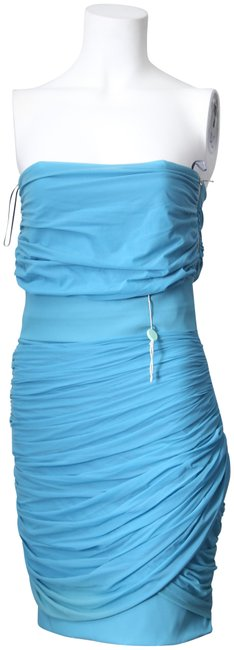 Item - * Baby Blue Strapless Ruched Mini Night Out Dress Size 8 (M)