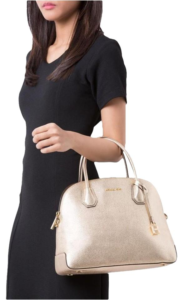 891b71710d20 MICHAEL Michael Kors Mercer Large Dome Pale Gold Leather Satchel ...
